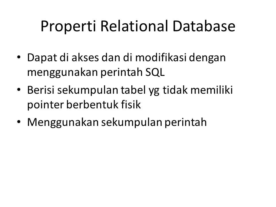 Properti Relational Database • Dapat di akses dan di modifikasi dengan menggunakan perintah SQL • Berisi sekumpulan tabel yg tidak memiliki pointer be
