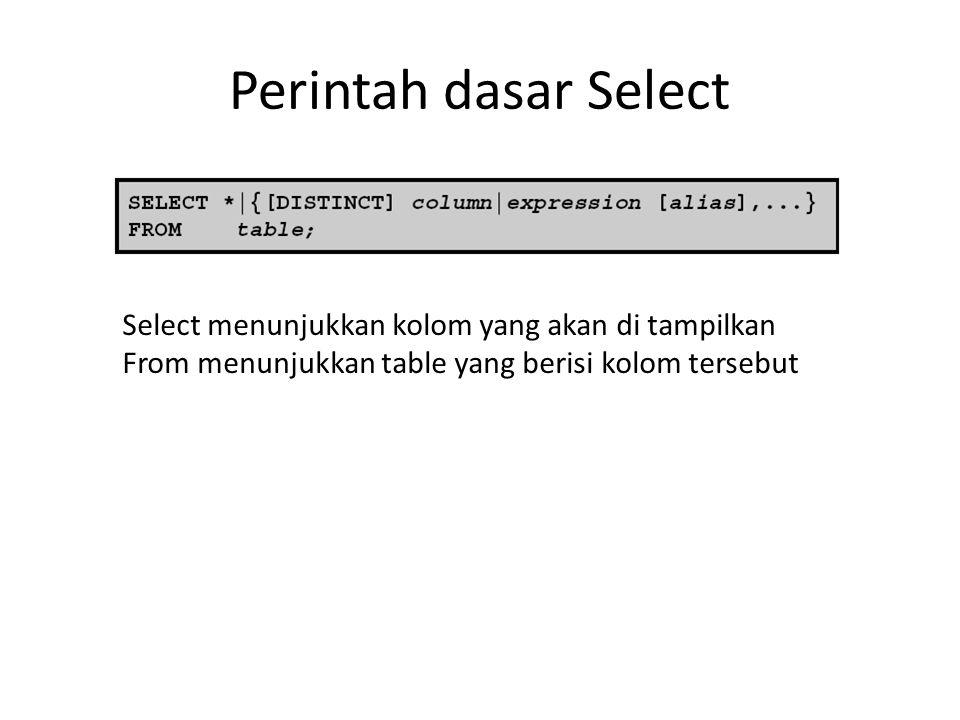 Perintah dasar Select Select menunjukkan kolom yang akan di tampilkan From menunjukkan table yang berisi kolom tersebut