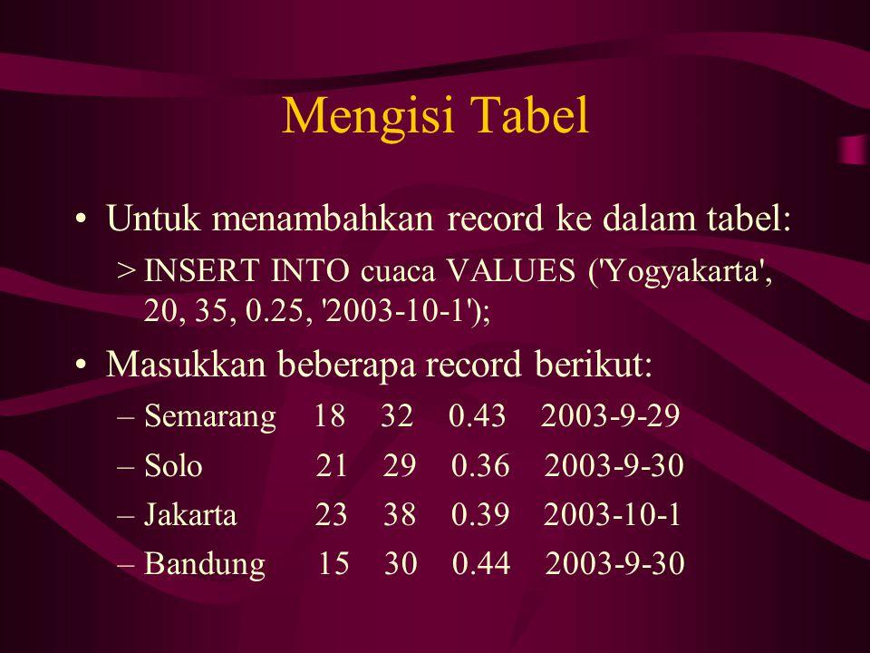 Mengisi Tabel •Untuk menambahkan record ke dalam tabel: >INSERT INTO cuaca VALUES ('Yogyakarta', 20, 35, 0.25, '2003-10-1'); •Masukkan beberapa record