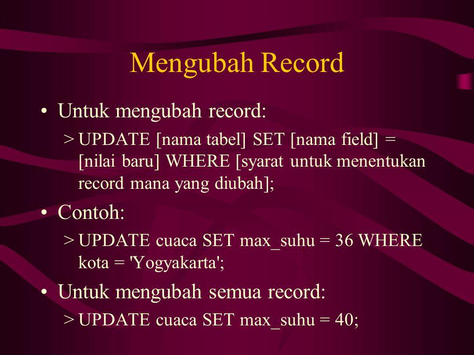Mengubah Record •Untuk mengubah record: >UPDATE [nama tabel] SET [nama field] = [nilai baru] WHERE [syarat untuk menentukan record mana yang diubah];