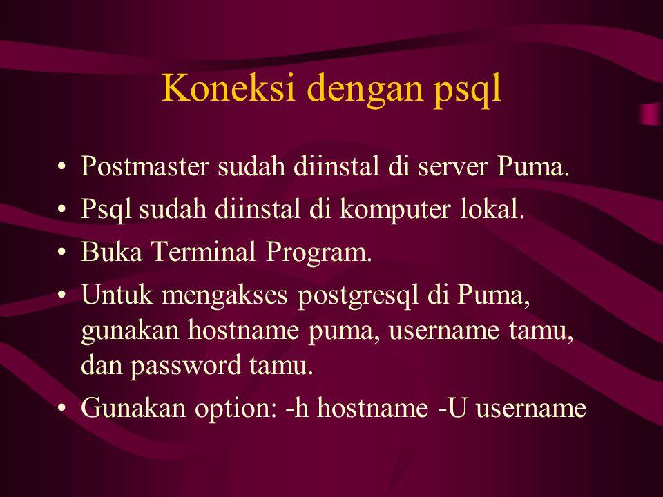 Koneksi dengan psql •Postmaster sudah diinstal di server Puma. •Psql sudah diinstal di komputer lokal. •Buka Terminal Program. •Untuk mengakses postgr