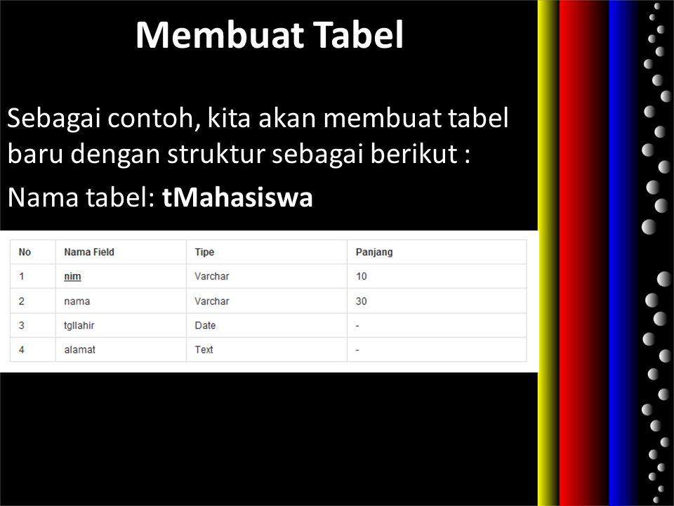Membuat Tabel Sebagai contoh, kita akan membuat tabel baru dengan struktur sebagai berikut : Nama tabel: tMahasiswa