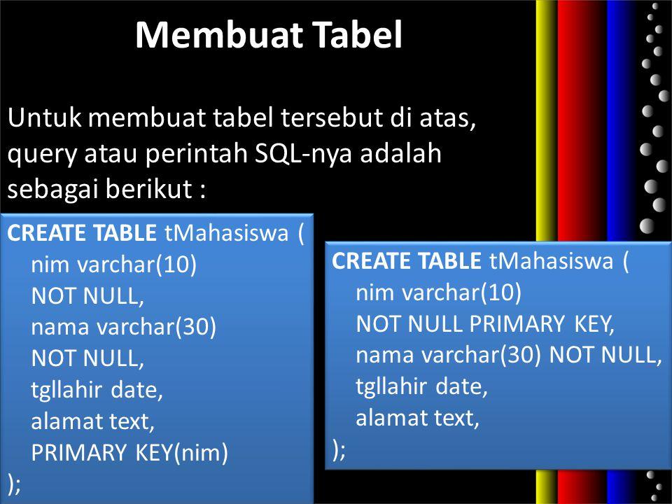 Membuat Tabel Untuk membuat tabel tersebut di atas, query atau perintah SQL-nya adalah sebagai berikut : CREATE TABLE tMahasiswa ( nim varchar(10) NOT