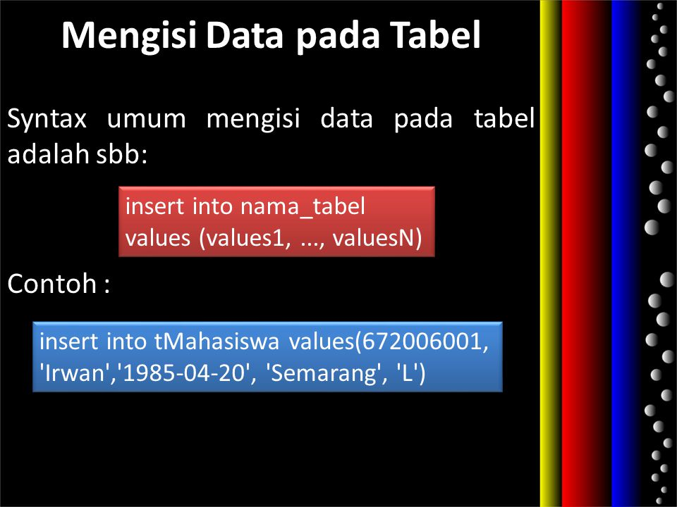 Mengisi Data pada Tabel Syntax umum mengisi data pada tabel adalah sbb: Contoh : insert into nama_tabel values (values1,..., valuesN) insert into nama