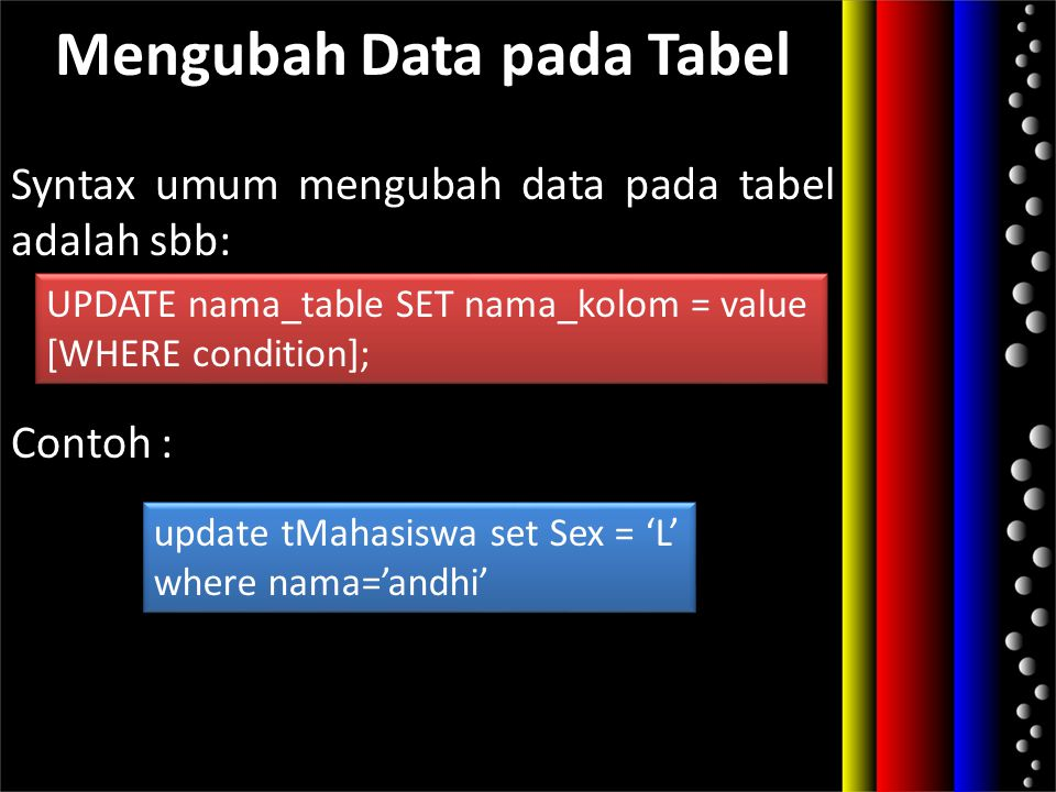 Mengubah Data pada Tabel Syntax umum mengubah data pada tabel adalah sbb: Contoh : UPDATE nama_table SET nama_kolom = value [WHERE condition]; UPDATE
