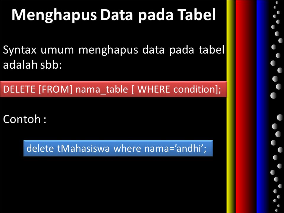 Menghapus Data pada Tabel Syntax umum menghapus data pada tabel adalah sbb: Contoh : DELETE [FROM] nama_table [ WHERE condition]; delete tMahasiswa wh