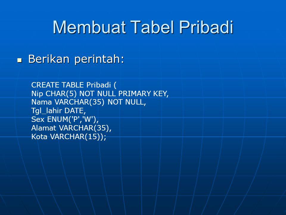 Membuat Tabel Pribadi  Berikan perintah: CREATE TABLE Pribadi ( Nip CHAR(5) NOT NULL PRIMARY KEY, Nama VARCHAR(35) NOT NULL, Tgl_lahir DATE, Sex ENUM( P , W ), Alamat VARCHAR(35), Kota VARCHAR(15));