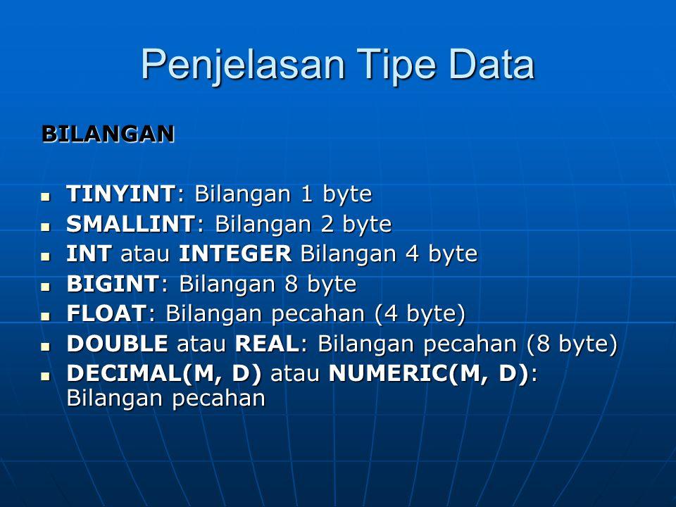Penjelasan Tipe Data BILANGAN  TINYINT: Bilangan 1 byte  SMALLINT: Bilangan 2 byte  INT atau INTEGER Bilangan 4 byte  BIGINT: Bilangan 8 byte  FLOAT: Bilangan pecahan (4 byte)  DOUBLE atau REAL: Bilangan pecahan (8 byte)  DECIMAL(M, D) atau NUMERIC(M, D): Bilangan pecahan