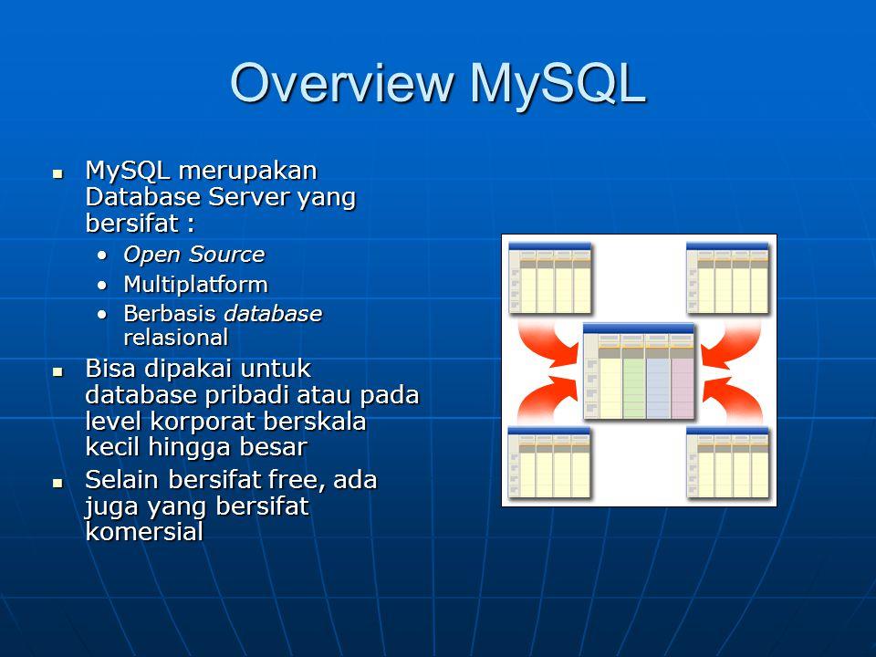 Overview MySQL  MySQL merupakan Database Server yang bersifat : •Open Source •Multiplatform •Berbasis database relasional  Bisa dipakai untuk database pribadi atau pada level korporat berskala kecil hingga besar  Selain bersifat free, ada juga yang bersifat komersial