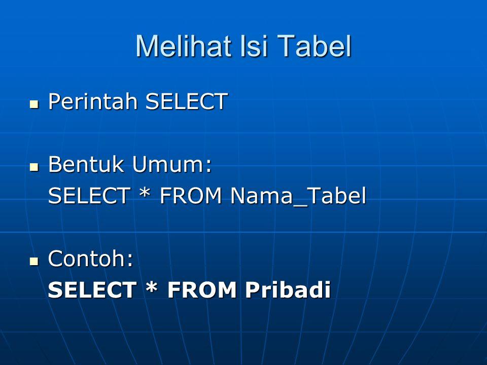 Melihat Isi Tabel  Perintah SELECT  Bentuk Umum: SELECT * FROM Nama_Tabel  Contoh: SELECT * FROM Pribadi