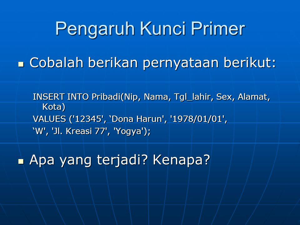 Pengaruh Kunci Primer  Cobalah berikan pernyataan berikut: INSERT INTO Pribadi(Nip, Nama, Tgl_lahir, Sex, Alamat, Kota) VALUES ( 12345 , 'Dona Harun , 1978/01/01 , 'W , Jl.