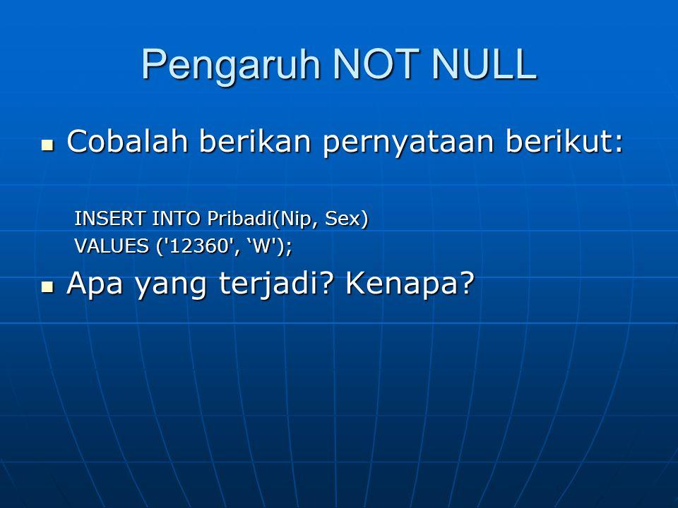 Pengaruh NOT NULL  Cobalah berikan pernyataan berikut: INSERT INTO Pribadi(Nip, Sex) VALUES ('12360', 'W');  Apa yang terjadi? Kenapa?