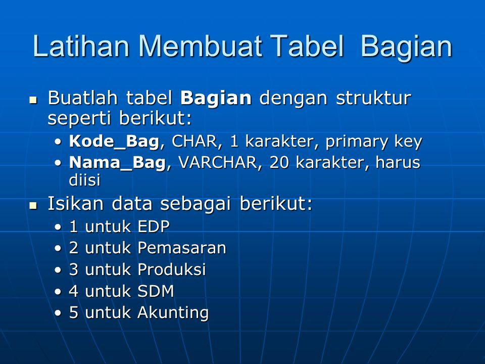 Latihan Membuat Tabel Bagian  Buatlah tabel Bagian dengan struktur seperti berikut: •Kode_Bag, CHAR, 1 karakter, primary key •Nama_Bag, VARCHAR, 20 karakter, harus diisi  Isikan data sebagai berikut: •1 untuk EDP •2 untuk Pemasaran •3 untuk Produksi •4 untuk SDM •5 untuk Akunting