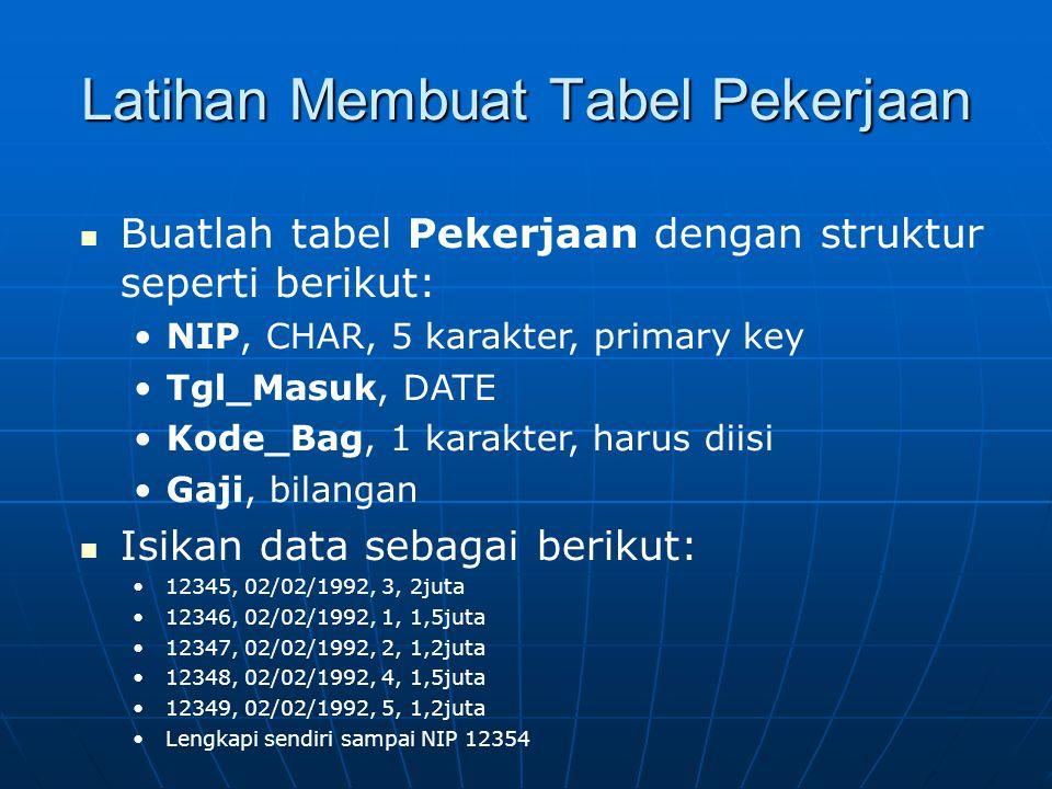 Latihan Membuat Tabel Pekerjaan  Buatlah tabel Pekerjaan dengan struktur seperti berikut: •NIP, CHAR, 5 karakter, primary key •Tgl_Masuk, DATE •Kode_Bag, 1 karakter, harus diisi •Gaji, bilangan  Isikan data sebagai berikut: •12345, 02/02/1992, 3, 2juta •12346, 02/02/1992, 1, 1,5juta •12347, 02/02/1992, 2, 1,2juta •12348, 02/02/1992, 4, 1,5juta •12349, 02/02/1992, 5, 1,2juta •Lengkapi sendiri sampai NIP 12354