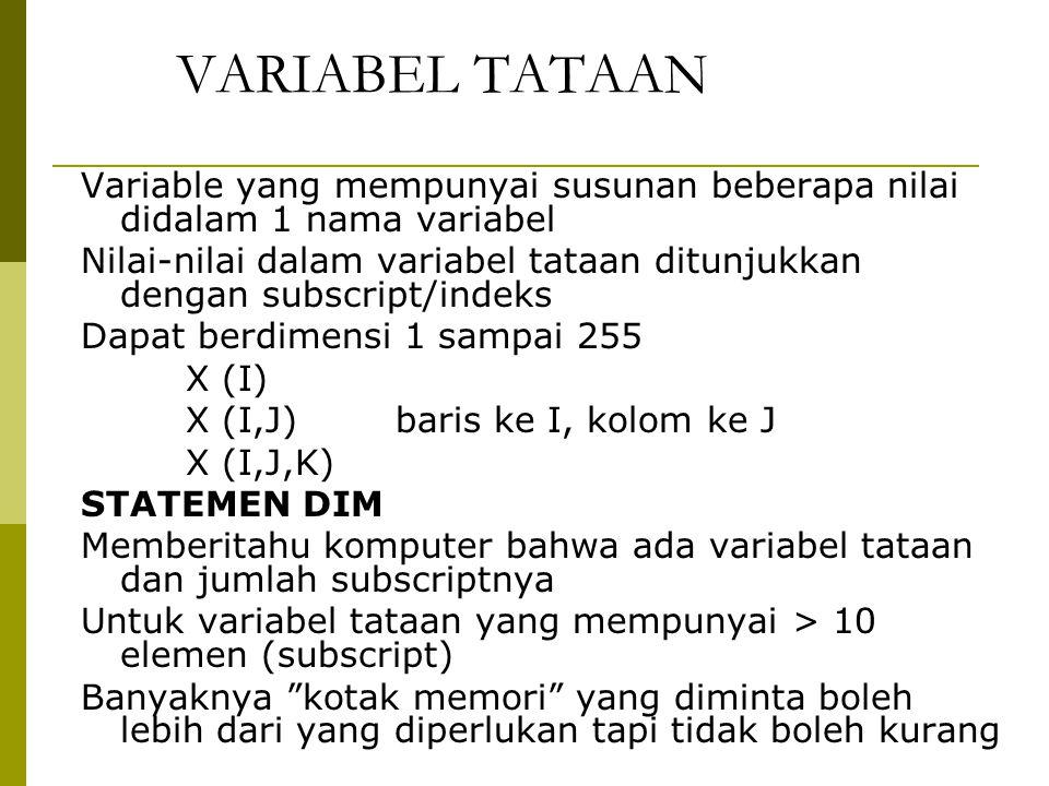 VARIABEL TATAAN Variable yang mempunyai susunan beberapa nilai didalam 1 nama variabel Nilai-nilai dalam variabel tataan ditunjukkan dengan subscript/indeks Dapat berdimensi 1 sampai 255 X (I) X (I,J) baris ke I, kolom ke J X (I,J,K) STATEMEN DIM Memberitahu komputer bahwa ada variabel tataan dan jumlah subscriptnya Untuk variabel tataan yang mempunyai > 10 elemen (subscript) Banyaknya kotak memori yang diminta boleh lebih dari yang diperlukan tapi tidak boleh kurang
