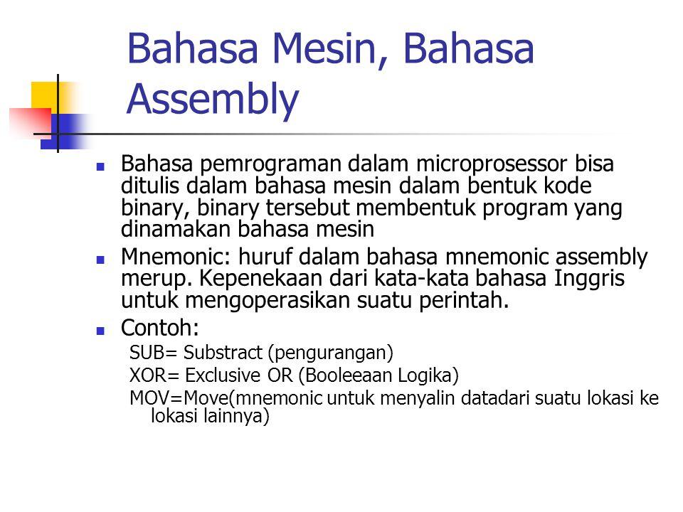 Bahasa Mesin, Bahasa Assembly  Bahasa pemrograman dalam microprosessor bisa ditulis dalam bahasa mesin dalam bentuk kode binary, binary tersebut memb