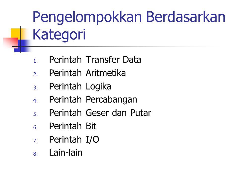 Pengelompokkan Berdasarkan Kategori 1. Perintah Transfer Data 2. Perintah Aritmetika 3. Perintah Logika 4. Perintah Percabangan 5. Perintah Geser dan