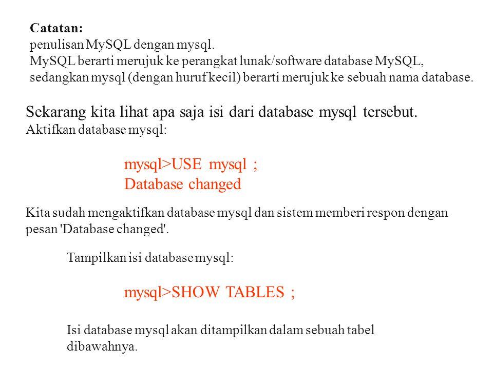 Catatan: penulisan MySQL dengan mysql. MySQL berarti merujuk ke perangkat lunak/software database MySQL, sedangkan mysql (dengan huruf kecil) berarti