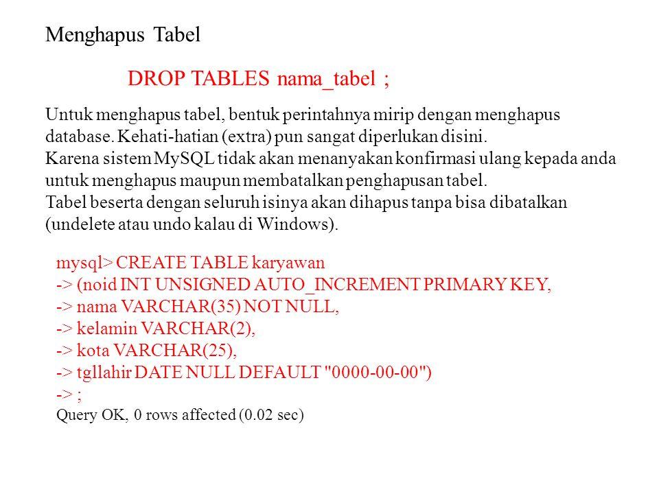 Menghapus Tabel DROP TABLES nama_tabel ; Untuk menghapus tabel, bentuk perintahnya mirip dengan menghapus database. Kehati-hatian (extra) pun sangat d