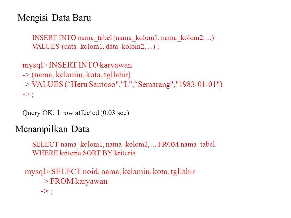 Mengisi Data Baru INSERT INTO nama_tabel (nama_kolom1, nama_kolom2,...) VALUES (data_kolom1, data_kolom2,...) ; mysql> INSERT INTO karyawan -> (nama,