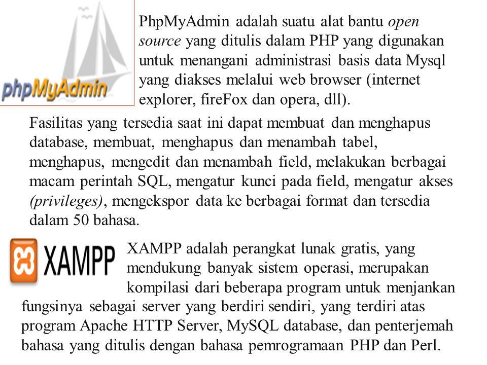 Untuk menjalankan MySQL dan Web server Apache:  cukup dg menjalankan control panel XAMPP Untuk melihat webserver sudah jalan:  Ketikkan di internet explorer: http://localhost Untuk melihat MySQL sudah jalan:  Ketikkan di internet explorer: http://localhost/phpMyadmin