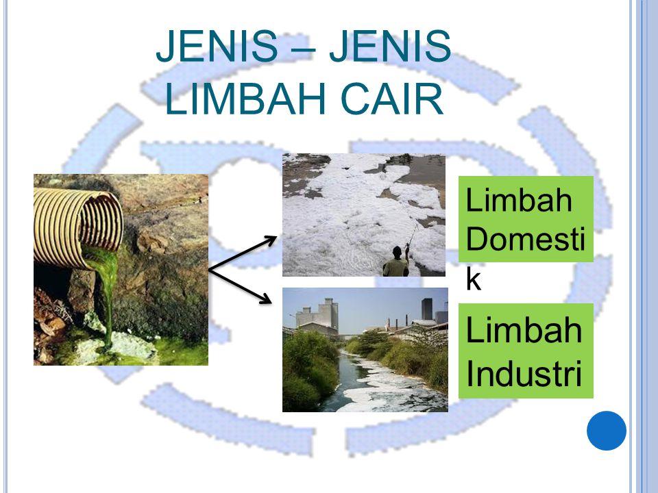 JENIS – JENIS LIMBAH CAIR Limbah Domesti k Limbah Industri