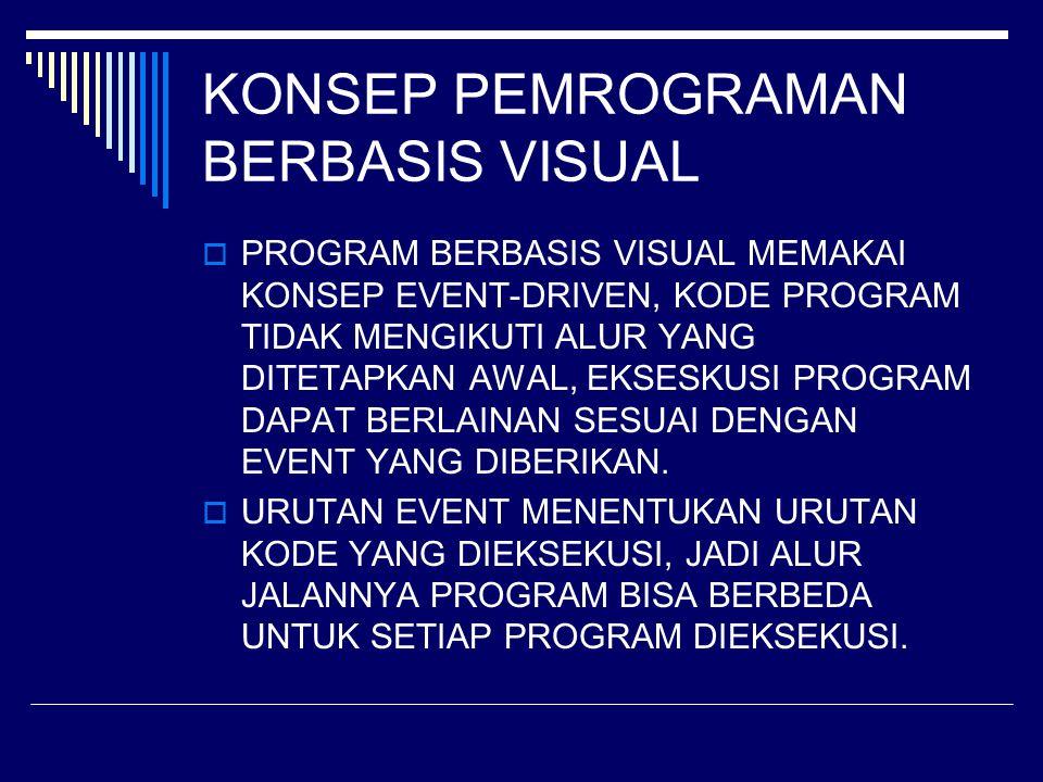 KONSEP PEMROGRAMAN BERBASIS VISUAL  PROGRAM BERBASIS VISUAL MEMAKAI KONSEP EVENT-DRIVEN, KODE PROGRAM TIDAK MENGIKUTI ALUR YANG DITETAPKAN AWAL, EKSE
