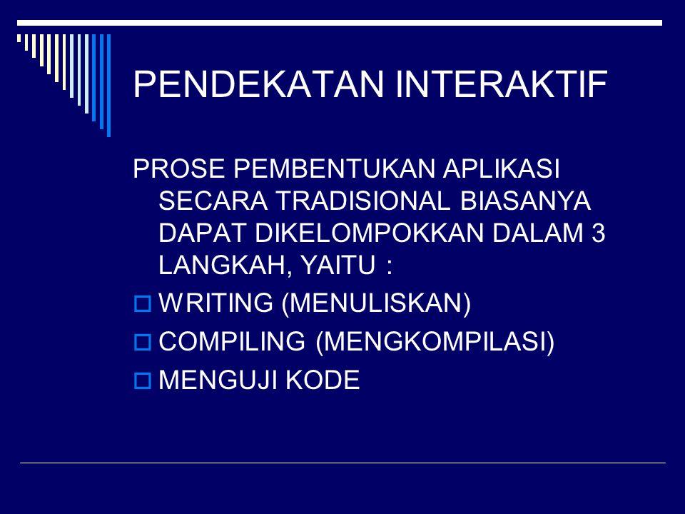 PENDEKATAN INTERAKTIF PROSE PEMBENTUKAN APLIKASI SECARA TRADISIONAL BIASANYA DAPAT DIKELOMPOKKAN DALAM 3 LANGKAH, YAITU :  WRITING (MENULISKAN)  COM