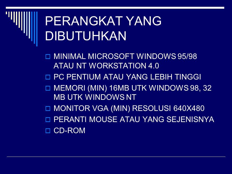 PERANGKAT YANG DIBUTUHKAN  MINIMAL MICROSOFT WINDOWS 95/98 ATAU NT WORKSTATION 4.0  PC PENTIUM ATAU YANG LEBIH TINGGI  MEMORI (MIN) 16MB UTK WINDOW
