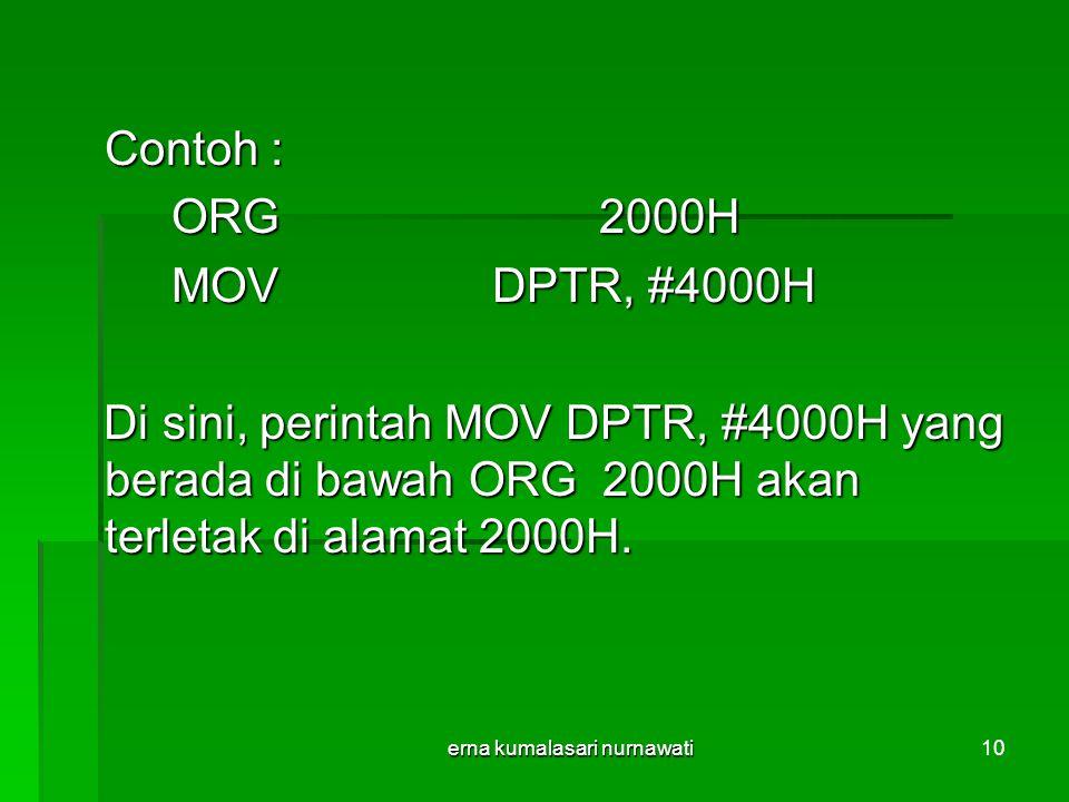 erna kumalasari nurnawati10 Contoh : ORG2000H MOVDPTR, #4000H Di sini, perintah MOV DPTR, #4000H yang berada di bawah ORG 2000H akan terletak di alamat 2000H.