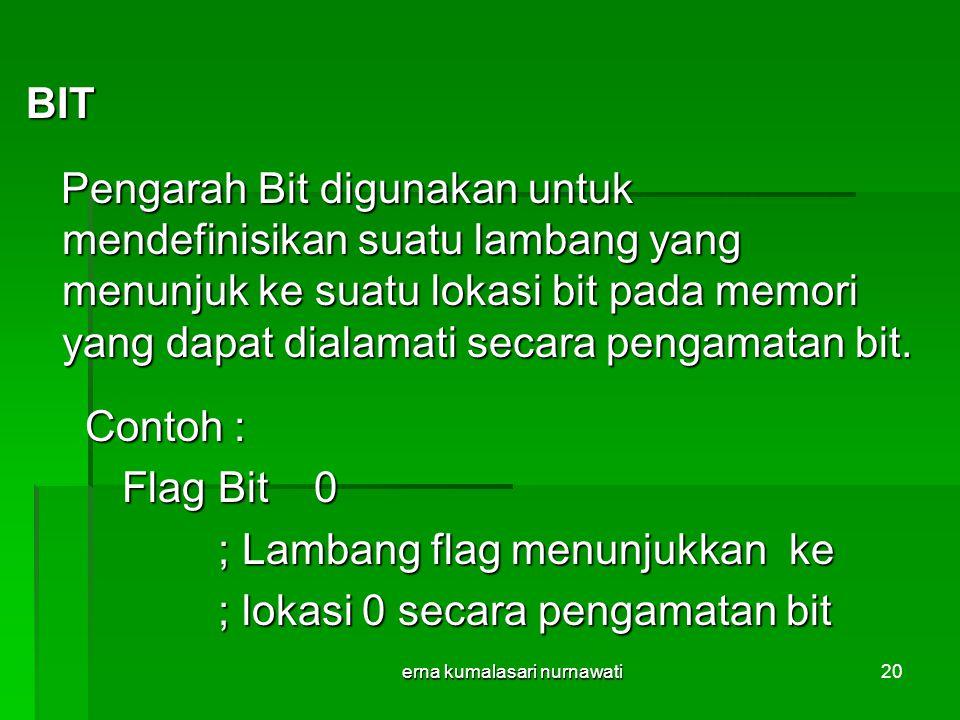 erna kumalasari nurnawati20 BIT Pengarah Bit digunakan untuk mendefinisikan suatu lambang yang menunjuk ke suatu lokasi bit pada memori yang dapat dialamati secara pengamatan bit.