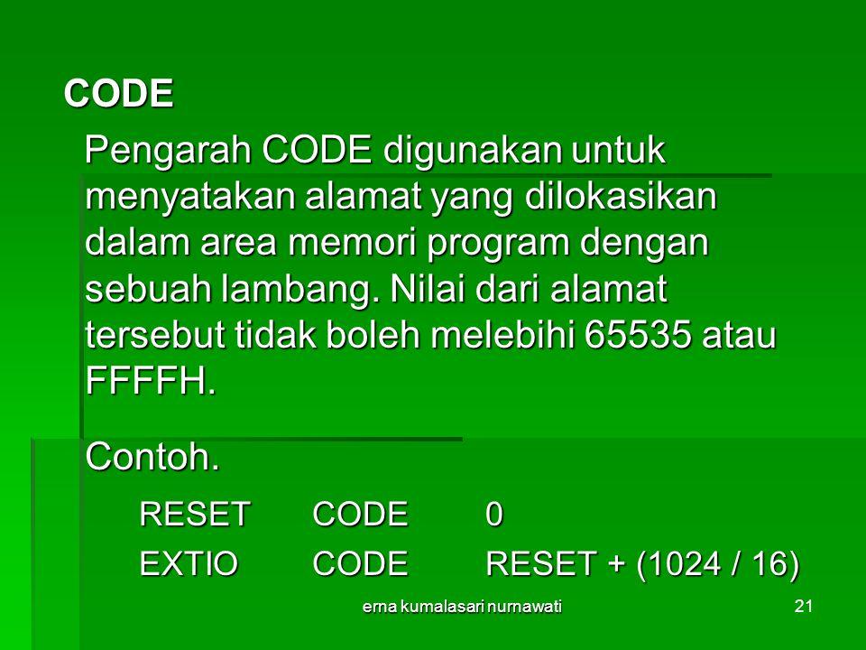 erna kumalasari nurnawati21 CODE CODE Pengarah CODE digunakan untuk menyatakan alamat yang dilokasikan dalam area memori program dengan sebuah lambang.