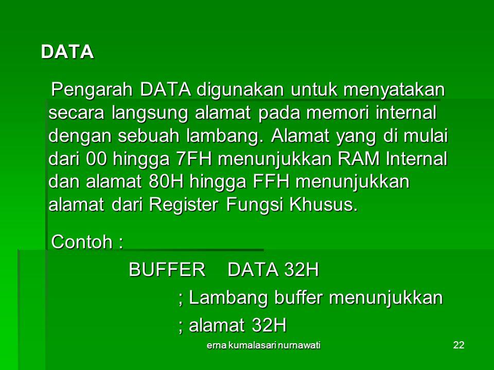 erna kumalasari nurnawati22 DATA DATA Pengarah DATA digunakan untuk menyatakan secara langsung alamat pada memori internal dengan sebuah lambang.