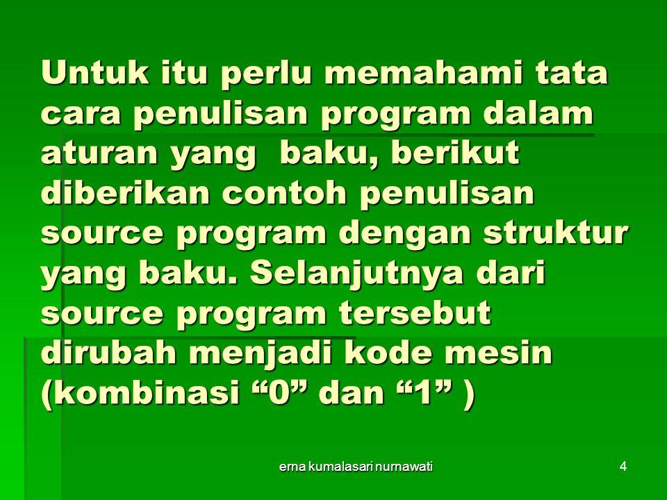 erna kumalasari nurnawati4 Untuk itu perlu memahami tata cara penulisan program dalam aturan yang baku, berikut diberikan contoh penulisan source program dengan struktur yang baku.