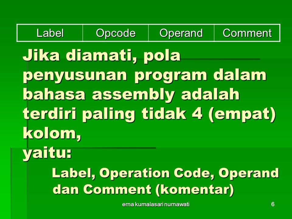 erna kumalasari nurnawati7 Hasil dari Source Program tersebut adalah kode-kode Biner yang selanjutnya diberikan ke memory atau langsung ke mikrokontroler yang menggunakan Internal ROM 0000 75 81 60 MULAI: MOV SP,#$60 000375 90 AAL1:MOV P1,#$AA 000612 00 11LCALL DELAY 000975 90 55MOV P1,#$55 000C12 00 11LCALL DELAY 000F80 F2SJMP L1 001178 64DELAY:MOV R0,#$64 dst