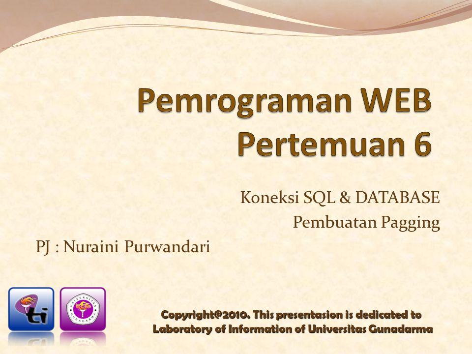 Koneksi SQL & DATABASE Pembuatan Pagging PJ : Nuraini Purwandari Copyright@2010. This presentasion is dedicated to Laboratory of Information of Univer