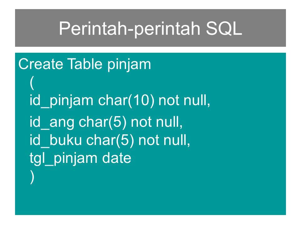 Perintah-perintah SQL Create Table pinjam ( id_pinjam char(10) not null, id_ang char(5) not null, id_buku char(5) not null, tgl_pinjam date )