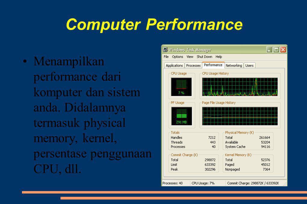 Computer Performance •Menampilkan performance dari komputer dan sistem anda.