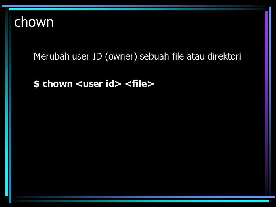 cp Untuk menyalin file atau copy. Misalnya untuk menyalin file1 menjadi file2: $ cp
