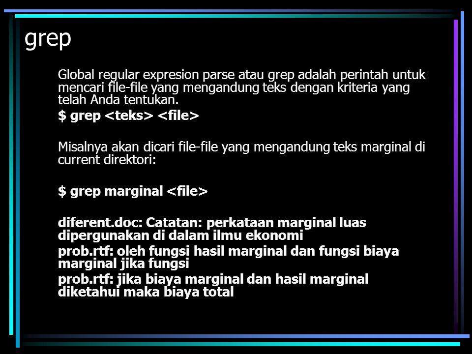 gzip Ini adalah software kompresi zip versi GNU, fungsinya untuk mengkompresi sebuah file.