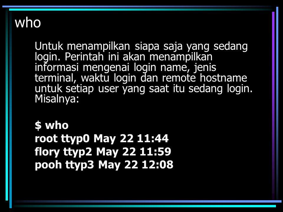 xhost + Perintah ini digunakan untuk memberi akses atau menghapus akses(xhost -) host atau user ke sebuah server X