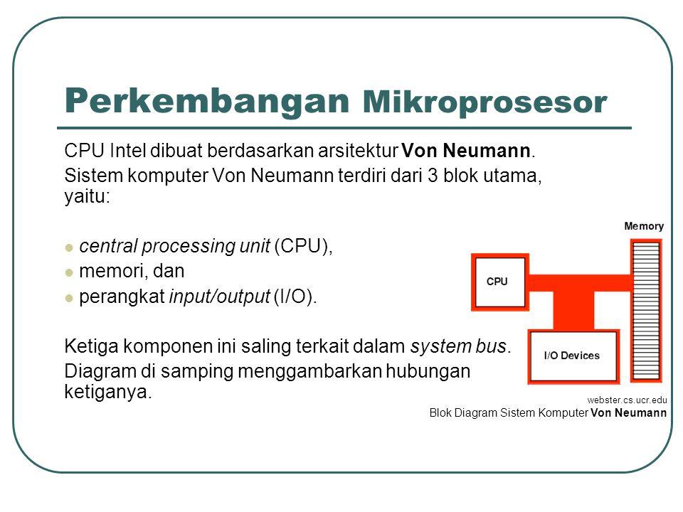 Perkembangan Mikroprosesor CPU Intel dibuat berdasarkan arsitektur Von Neumann.