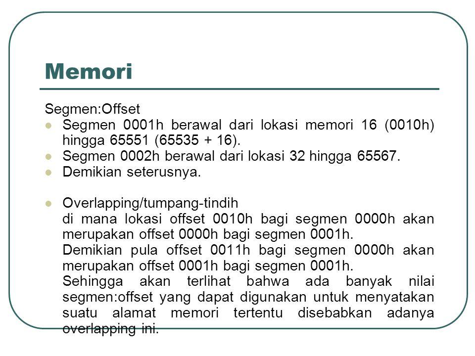 Memori Segmen:Offset  Segmen 0001h berawal dari lokasi memori 16 (0010h) hingga 65551 (65535 + 16).