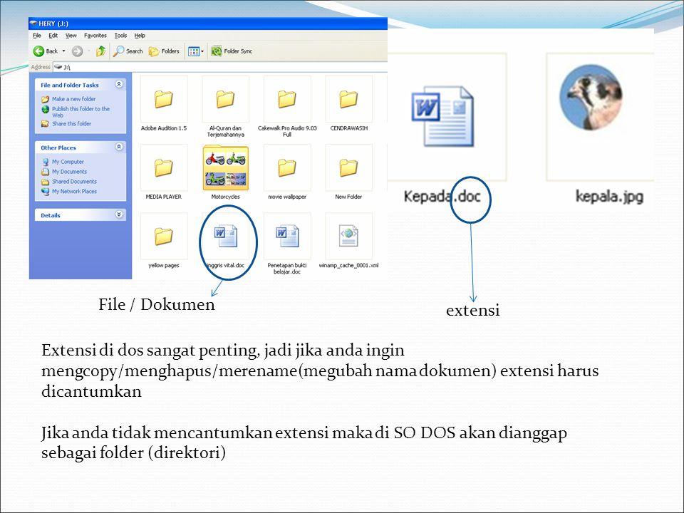 File / Dokumen extensi Extensi di dos sangat penting, jadi jika anda ingin mengcopy/menghapus/merename(megubah nama dokumen) extensi harus dicantumkan