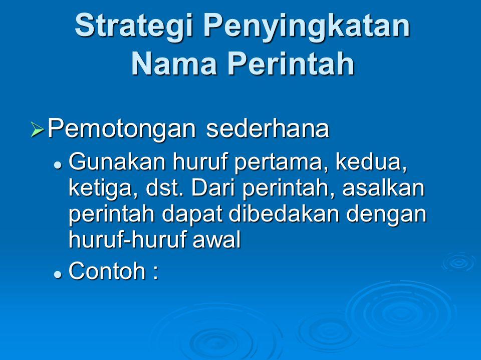 Strategi Penyingkatan Nama Perintah  Pemotongan sederhana  Gunakan huruf pertama, kedua, ketiga, dst. Dari perintah, asalkan perintah dapat dibedaka