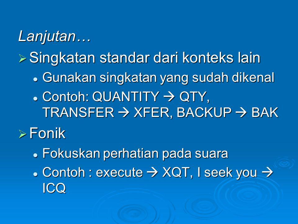 Lanjutan…  Singkatan standar dari konteks lain  Gunakan singkatan yang sudah dikenal  Contoh: QUANTITY  QTY, TRANSFER  XFER, BACKUP  BAK  Fonik
