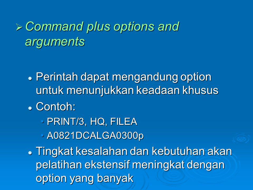 Command plus options and arguments  Perintah dapat mengandung option untuk menunjukkan keadaan khusus  Contoh: •PRINT/3, HQ, FILEA •A0821DCALGA030