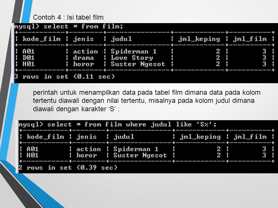Contoh 4 : Isi tabel film perintah untuk menampilkan data pada tabel film dimana data pada kolom tertentu diawali dengan nilai tertentu, misalnya pada kolom judul dimana diawali dengan karakter 'S' :
