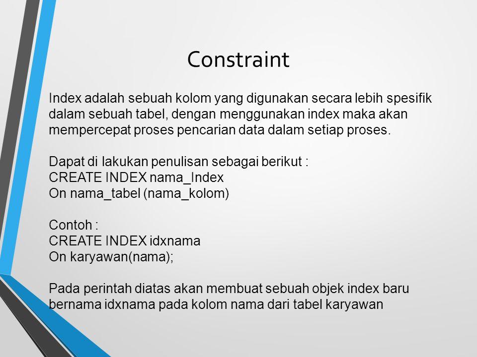 Constraint Index adalah sebuah kolom yang digunakan secara lebih spesifik dalam sebuah tabel, dengan menggunakan index maka akan mempercepat proses pencarian data dalam setiap proses.