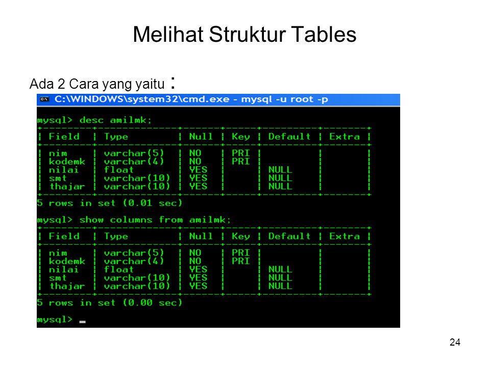 24 Melihat Struktur Tables Ada 2 Cara yang yaitu :